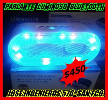 PARLANTE LUMINOSO BLUETOOTH USB/SD/FM $450