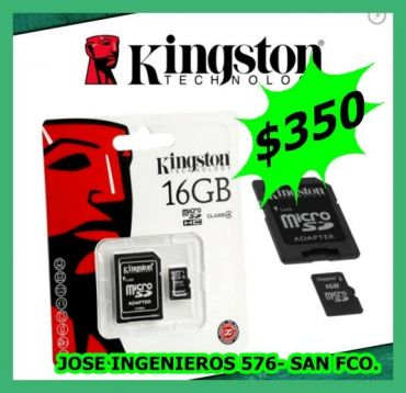 MEMORIAS DE 16GB KINGSTON $350